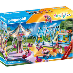 PLAYMOBIL® Family Fun - Großer Vergnügungspark 70558, mit Kettenkarussell, Schiffschaukel, Verkaufsbude