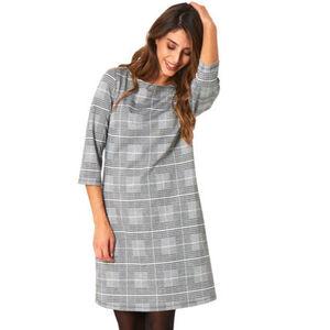 MANGUUN Collection Kleid, Glencheck-Muster, 3/4 Arm, für Damen