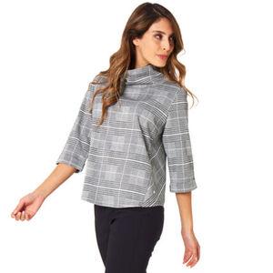 MANGUUN Collection Shirt, 3/4 Arm, Glencheck-Muster, Schlauchkragen, für Damen