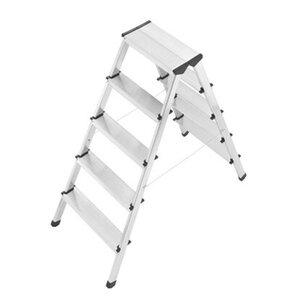 Hailo Alu-Sicherheits-Doppelstufenleiter 2 x 5 Stufen