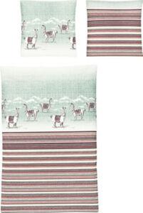 Irisette Feinbiber-Bettwäsche  Streifen#Tiermotive  135x200 cm (80x80 cm)
