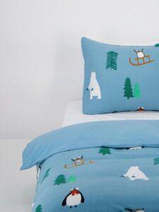 HEMA Kinder-Bettwäsche, Flanell, Winter, Blau
