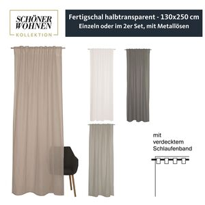 Vorhang Soho mit Schlaufenband • halbtransparent • 130 x 250 cm - Grau / 1 Stueck (130x250cm)