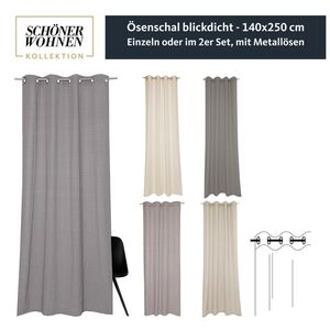 Ösenvorhang Mono • Baumwoll-Polyester Mischung • 140 x 250 cm - Grau / 2 Stueck (140x250cm)