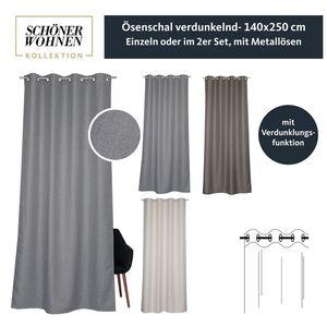 Ösenvorhang Opaco • verdunkelnd • 140 x 250 cm - Grau / 2 Stueck (140x250cm)