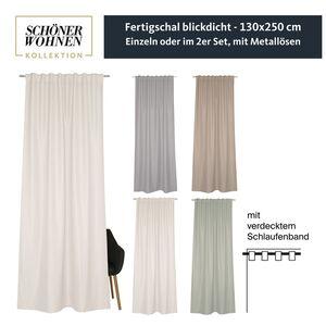 Vorhang Option mit verdecktem Schlaufenband • blickdicht • 130 x 250 cm - Grau / 2 Stueck (130x250cm)