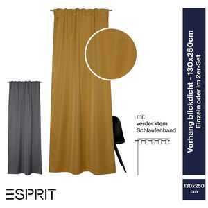 Schlaufenvorhang Rias •  einfarbiges Design • blickdicht • 130 x 250 cm - Dunkelgrau / 1 Stueck (130x250cm)