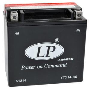 Landport YTX14-BS AGM Motorrad Batterie, 12 V 12 AH