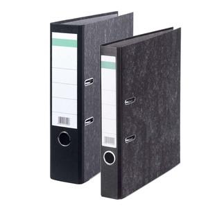 Ordner DIN-A4 Wolkenmarmorbezug, Kantenschutz, Pappe, schwarz, breit oder schmal