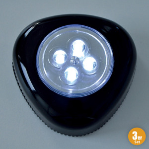 I-Glow LED-Spot, Schwarz - 3er-Set