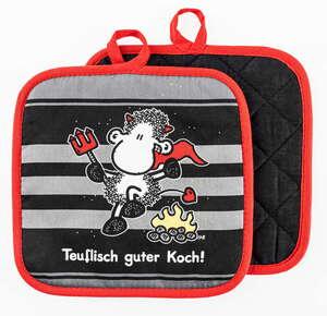 Sheepworld Topflappen - Teuflisch guter Koch, 2er-Set