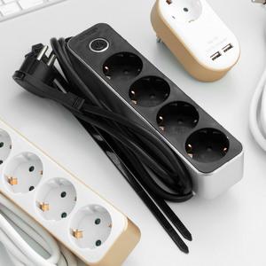 Powertec Electric Design-Steckdosenleiste, 4-fach mit Tischbefestigung - Schwarz/Silber