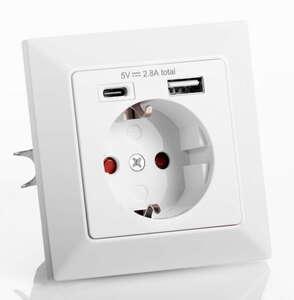 Powertec Electric Unterputzsteckdosen - USB-A & USB-C