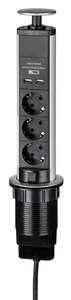 Powertec Electric Versenkbare Steckdosenleiste - Schwarz