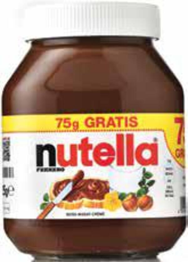 nutella + 75 g gratis