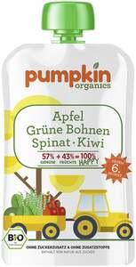 Pumpkin Organics Bio Happy Apfel, Grüne Bohnen, Spinat und Kiwi