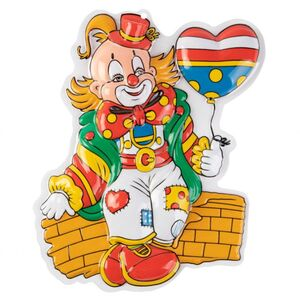 Wanddeko - Clown mit Luftballon - ca. 40 x 35 x 5 cm