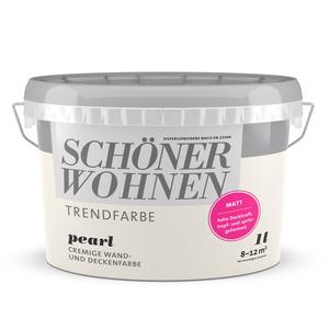 Schöner Wohnen Wand- und Deckenfarbe Trendfarbe 'Pearl' perlweiß matt 1 l