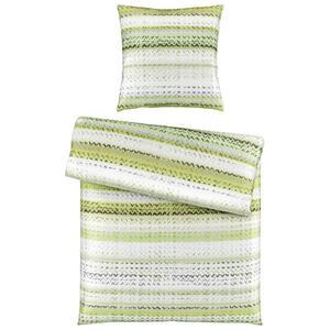 Bio:Vio Bettwäsche satin grün 155/220 cm , Tingle Tangle , Textil , Streifen , 155x220 cm , Satin , 004378014401
