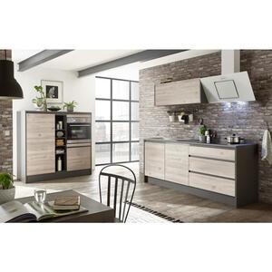 Xora Küchenleerblock in anthrazit , 'Less 4' _ Anthrazit, Eichefarben , 3 Schubladen , 210+150x190x60 cm , Nachbildung , 001279003301