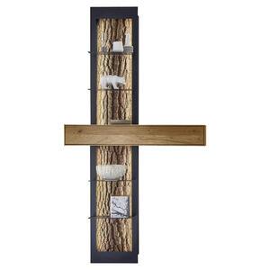 Valnatura Regalelement kerneiche vollmassiv anthrazit, eichefarben , Lavia , Holz, Metall , 1 Schubladen , 108x206x39 cm , pulverbeschichtet,matt, lackiert, gebürstet, gewachst,Echtholz , Beimöbel