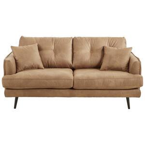 Carryhome Zweisitzer-sofa mikrofaser hellbraun , Grande , Textil , Buche , massiv , 2-Sitzer , 187x89x92 cm , matt, lackiert,Mikrofaser,Echtholz , Stoffauswahl, Rücken echt , 001877077522