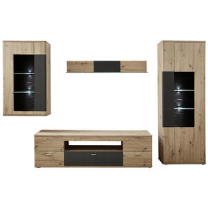 Xora Wohnwand graphitfarben, eichefarben , Anais , Metall , 2 Fächer , 3 Schubladen , 290x200x55 cm , Melamin,Nachbildung , 002590000901