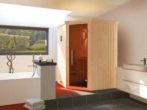 Weka Element-Ecksauna Kiruna 1 mit Glastür und Kompakt-Saunaofen