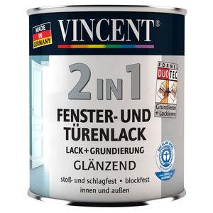 Vincent              2in1 Fenster- und Türenlack, Glänzend, 0,375 L