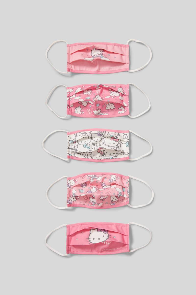 Bild 1 von C&A Hello Kitty-Kinder Mund-und Nasenmaske-5er Pack, Pink, Größe: 1 size