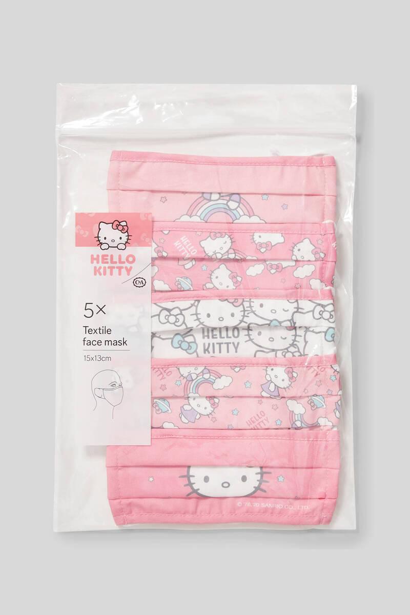 Bild 2 von C&A Hello Kitty-Kinder Mund-und Nasenmaske-5er Pack, Pink, Größe: 1 size