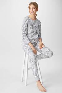 C&A Pyjama-Bio-Baumwolle-Winnie Puuh, Grau, Größe: S