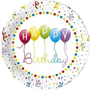 Happy Birthday Streamers 8 Pappteller, Ø 23 cm