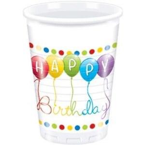 Happy Birthday Streamers 8 Plastikbecher