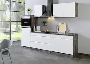 Küchenblock in Weiss/Eiche inkl. E-Geräte 'Cardiff'