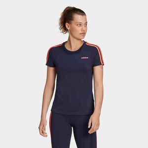 Adidas T-Shirt Essentials 3 Streifen Damen marineblau