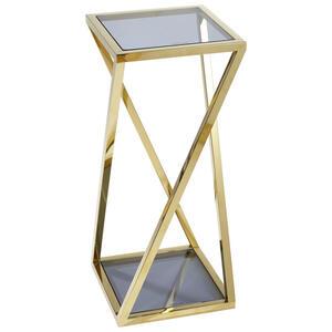 Xora Blumensäule metall, glas , Sofia , Blau, Goldfarben , 30x70x30 cm , poliert,farbig , 000813000201