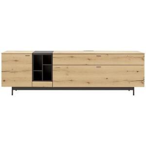 Livetastic Lowboard balkeneiche furniert anthrazit, eichefarben , Style , Holzwerkstoff , 2 Fächer , 2 Schubladen , 227x68.8x49.5 cm , pulverbeschichtet,pulverbeschichtet,lackiert,lackiert,Echtholz,