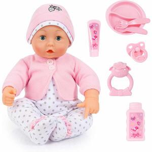 XXXLutz Babypuppe , 406688  Sprachpuppe Lisa , Rosa , Kunststoff , 46 cm , Schlafaugen, macht Babylaute, Weichkörperpuppe, bewegliche Gliedmaßen, ausziehbare Kleider , 004939004301