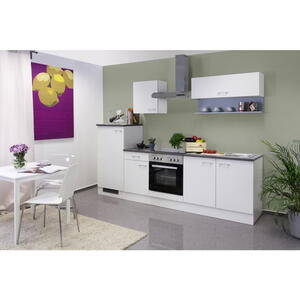 MID.YOU Küchenblock e-geräte, spüle , Lucca 270 CM Weiss , Weiß , 1 Schubladen , 270 cm , melaminharzbeschichtet,Nachbildung , links aufbaubar, rechts aufbaubar , 002539007201