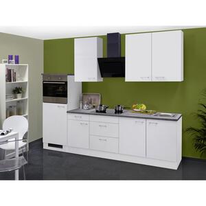 MID.YOU Küchenblock e-geräte, spüle , Lucca 270 Cm , Weiß , 270 cm , melaminharzbeschichtet,Nachbildung , links aufbaubar, rechts aufbaubar , 002539007501