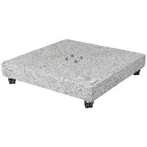 Doppler Sonnenschirmständer granit grau , Granitsockel 140 Kg , Stein , 80x80x14 cm , Naturstein,Granit , Rollen , 000462011409