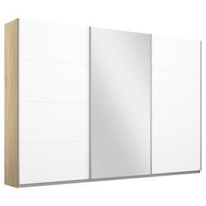 MID.YOU Schwebetürenschrank 3-türig weiß, sonoma eiche , Belluno 271Cm Eiche/weiss/sp. , Holzwerkstoff , 6 Fächer , 271x230x62 cm , bedruckt,Nachbildung , 000380046572