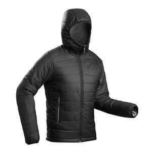 Wattierte Jacke Trek 100 Komfort bis -5 °C Kapuze Herren schwarz
