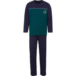 Dunmore Schlafanzug, Langarm, zweifarbig, Logo, Rundhals-Ausschnitt, für Herren