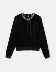 Schwarzes Sweatshirt aus Samt mit Kette