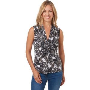 Olsen Shirt, ärmellos, Raffung, floraler Print, für Damen