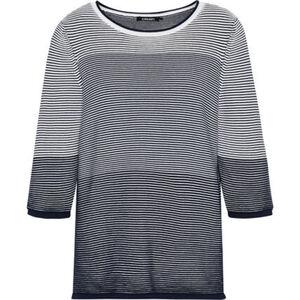 Olsen Shirt, 3/4-Arm, Rundhals-Ausschnitt, Streifen, Emblem, für Damen