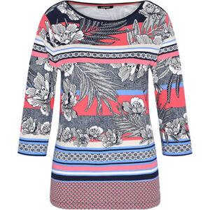 Olsen Shirt, 3/4-Arm, Rundhals-Ausschnitt, Emblem, für Damen