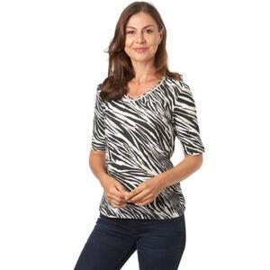 Olsen T-Shirt, Zebra-Print, V-Ausschnitt, für Damen